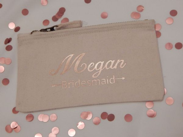 Personalised Flat Canvas Make Up Bag  - Wedding Role & Name